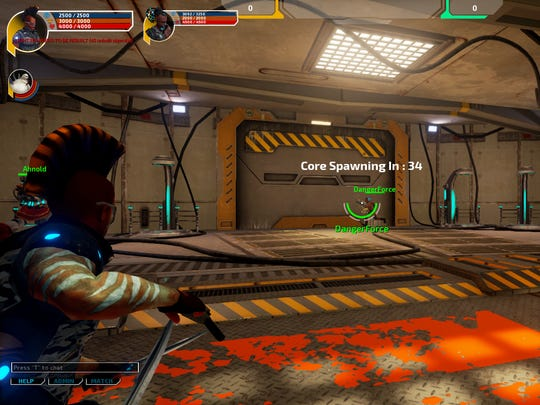A screenshot of gameplay during Capture the Core mode in the Lansing-made video game Tuebor.