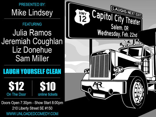 Unloaded Comedy presented by Mike Lindsey comes to Capitol City Theater on Wednesday, Feb. 22, 2017.