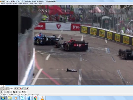 Debris on the streets of St. Petersburg, Fla. after Tony Kanaan and Mikhail Aleshin collided on Lap 26 during Sunday's race.