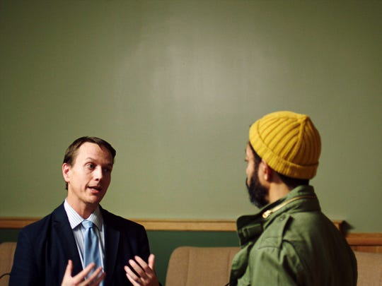 Wyatt Cenac talks with Mayor Peter Lindstrom of Falcon