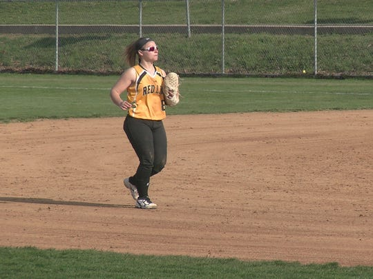 Red Lion's Taylor Radziewicz runs out to shortstop during Thursday's game against Central York.