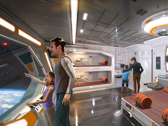 Walt Disney World: Star Wars-themed hotel (Opening date: TBA): If visiting Star Wars: Galaxy's Edge wouldn't be immersive enough, you could take a round-the-clock deep dive into the mythological universe by booking a multi-day stay at this singular (and likely singularly expensive) hotel. Based on Disney's renderings, it appears guests' sleeping quarters will be aboard a spaceship.