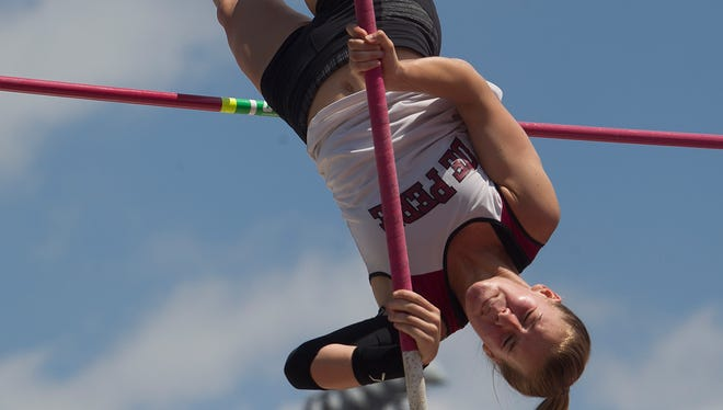 De Pere's Shae Opichka competes in the pole vault at the WIAA State Track and Field Meet Division 1 competition at Veterans Memorial Field Sports Complex at University of Wisconsin-La Crosse, Friday, June 6, 2014.