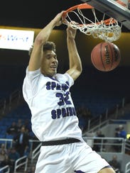 Spanish Springs' Jalen Townsell dunks  against Bishop