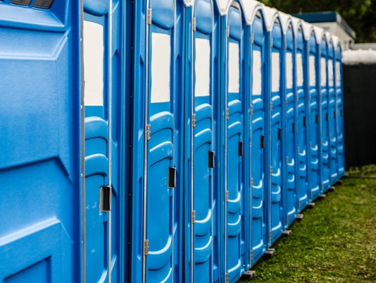 Row of chemical and portable toilets