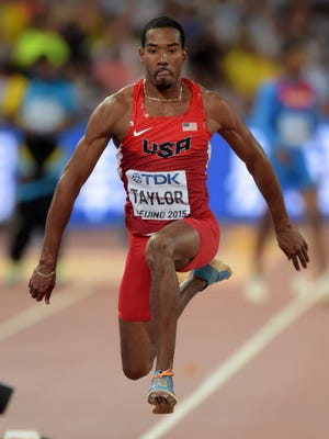 Christian Taylor (USA) wins the triple jump at 59-9 (18.21m) for the second longest jump in history during the IAAF World Championships in Athletics at National Stadium.