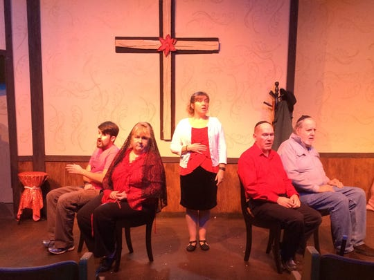 """The cast of Aumsville Community Theatre's """"Uh-Oh, Here Comes Christmas"""" rehearses for the Dec. 2 opening night."""
