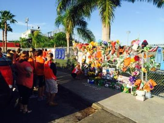 Memorial for Estero coach Jeff Sommer at the high school's campus