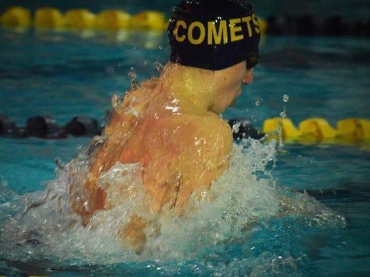 Hackensack's Matt Tieleman set the school record in the 100-yard breaststroke.