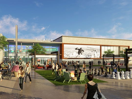 A rendering of the proposed retail and entertainment complex called Five and Main, on the northeast corner of M-5 and Pontiac Trail in Commerce Township, being developed by Robert B. Aikens and Associates.