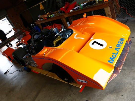Bill Heifer's 1972 McLaren M8F is prepped after a race