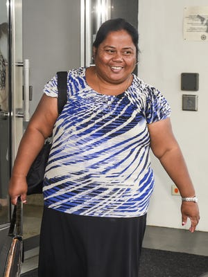 Linda Soichy Lindberry is seen leaving the District Court of Guam building in Hagåtña after her sentencing hearing on Thursday, Jan. 12, 2017. Lindberry was sentenced to five years probation by District Court Chief Judge Frances Tydingco-Gatewood for previously filing a false tax return with the Internal Revenue Service.