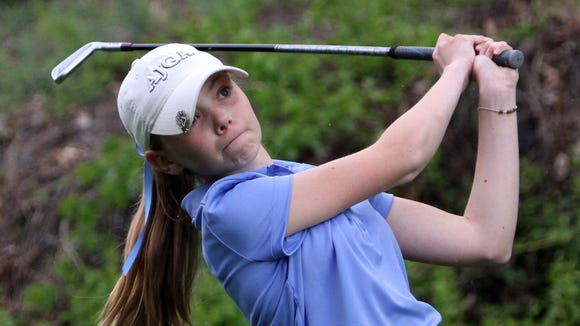 Alice Hodge of Ursuline tees off on the 10th hole of the Section 1 girls golf tournament at Whippoorwill Club in Armonk May 24, 2016.