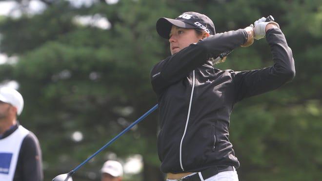 Lisa McCloskey tees off on 18 during the Wegmans LPGA Championship on Thursday.