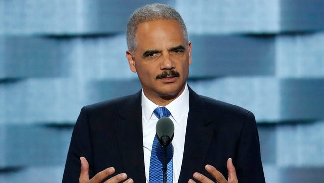 Former Attorney General Eric Holder speaks during the second day of the Democratic National Convention in Philadelphia.