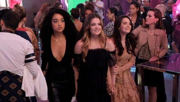 Aisha Dee as Kat, Meghann Fahy as Sutton and Katie