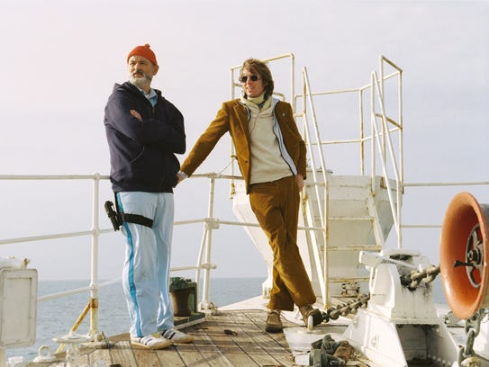 "Bill Murray and Wes Anderson at work on ""The Life Aquatic"
