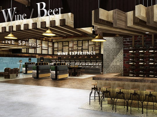 An interior rendering shows a wine bar and retail section