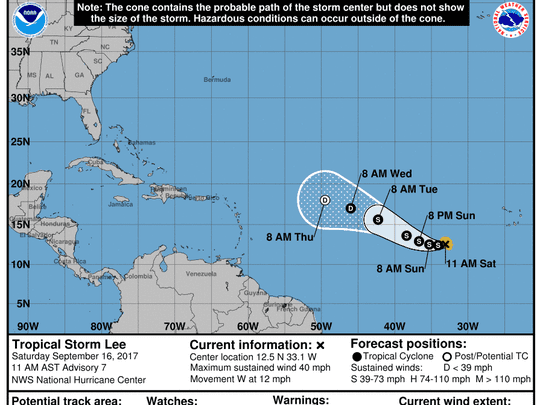 The forecast cone for Tropical Storm Lee as of 11 a.m. Saturday, Sept. 16, 2017.