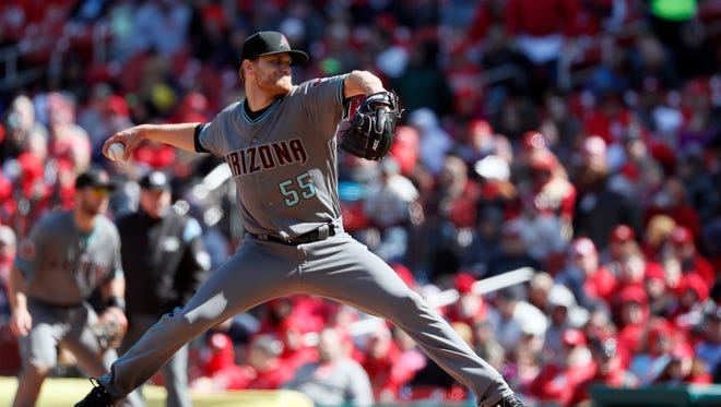 Arizona Diamondbacks relief pitcher Matt Koch throws during the sixth inning of a baseball game against the St. Louis Cardinals Saturday, April 7, 2018, in St. Louis. The Cardinals won 5-3.