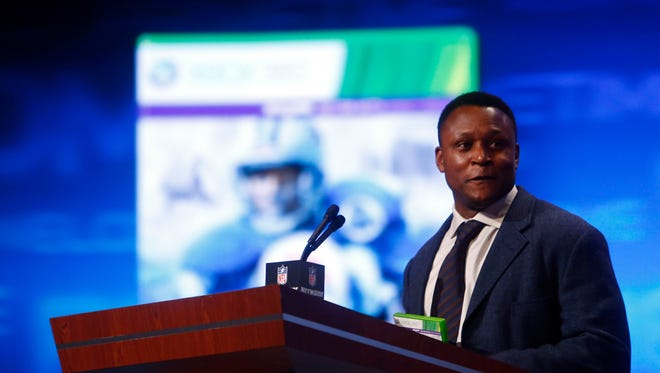 Detroit Lions former player Barry Sanders speaks during the 2013 NFL Draft at Radio City Music Hall.
