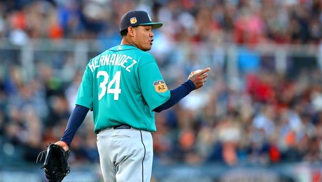 Mariners ace Felix Hernandez pitched six scoreless innings Thursday against San Francisco.