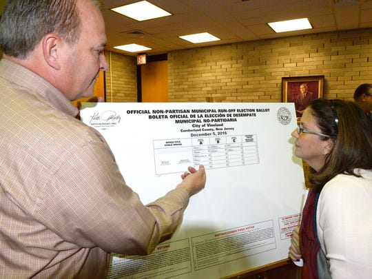Vineland City Clerk Keith Petrosky and councilwoman Angela Calakos look over the sample ballot drawn Thursday in case a runoff election was needed.