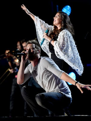 Lady Antebellum performs at Nissan Stadium on the third day of CMA Fest 2017, on Saturday, June 10, 2017, in Nashville, Tenn.
