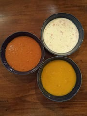 Roasted red pepper and cauliflower soup, squash soup and corn chowder.