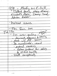A handwritten note outlines a meeting between South-Doyle Middle School administrators and Knox County Schools officials to discuss special education teacher Evelyn Gill.