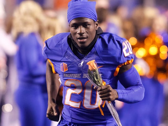 Boise State wide receiver Terrell Johnson (20) is introduced
