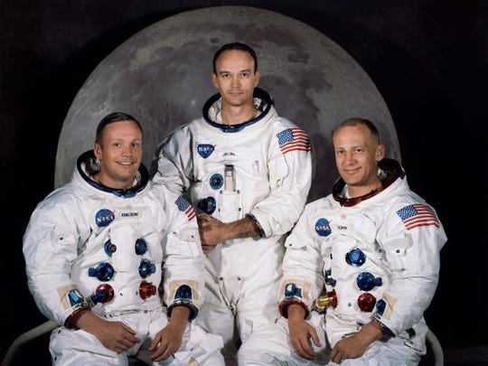The crew of the 1969 Apollo 11 mission. From left are Neil Armstrong, Mission Commander; Michael Collins, Lt. Col. USAF; and Edwin Eugene Aldrin, also known as Buzz Aldrin, USAF Lunar Module pilot. Armstrong and Aldrin spent nearly three hours walking on the moon, collecting samples, conducting experiments and taking photographs.
