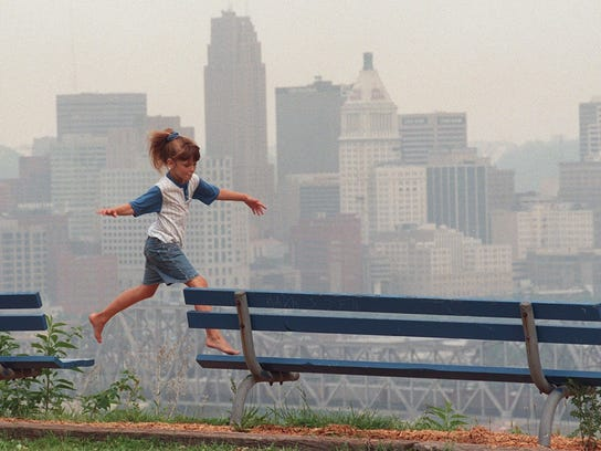 This photo from 1996 show the haze that develops when the Cincinnati region is under an ozone alert.