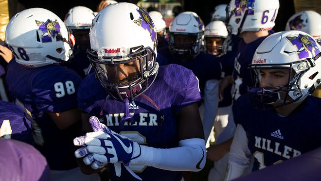 Miller waits to take the field at the start of their game against King at Buccaneer Stadium on Sept. 7, 2017.
