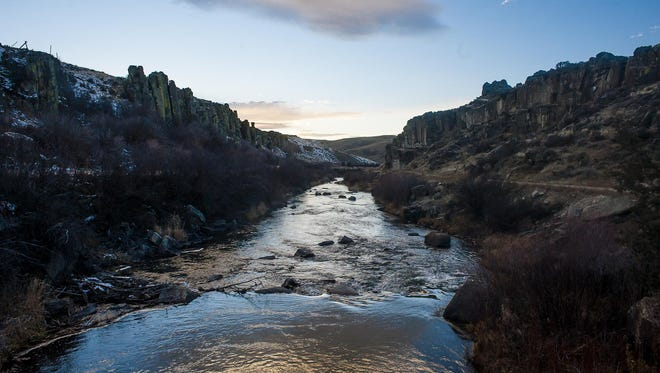 """The Smith River earlier this month. A proposed copper mine would be located a mile from Sheep Creek, a tributary of the Smith. Opponents of the mine have produced """"Save our Smith"""" bumper stickers. Tintina Resources says the mine won't have any impact on Sheep Creek or the Smith."""