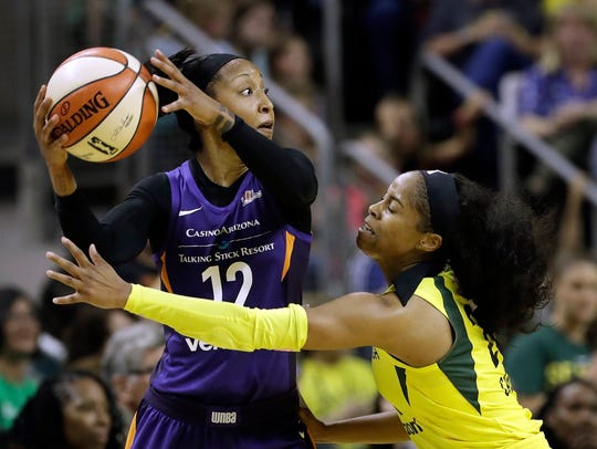 Seattle Storm's Jordin Canada, right, defends Phoenix
