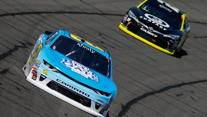 Daniel Hemric (foreground) and Matt Tifft -- shown racing together this season in Fontana, Calif. -- both notched  Xfinity Series-best finishes at the Mid-Ohio Sports Car Course.