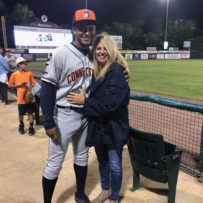 Tigers draft pick Dane Myers with his mom, Rhonda Myers,