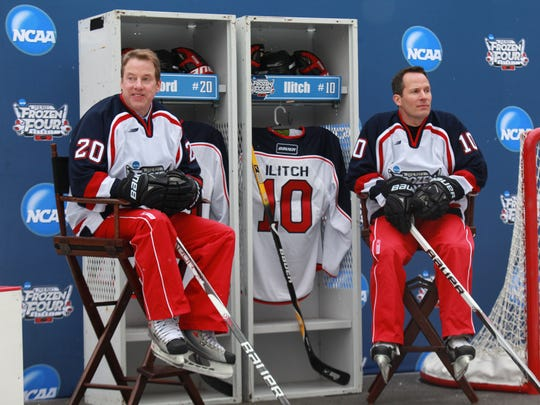 Bill Ford Jr. and Christopher Ilitch are announced as co-chairs  for the 2010 NCAA Frozen Four to be held in April 2010 at Ford Field. They are photographed at Campus Martius Park in Detroit in January 2010.