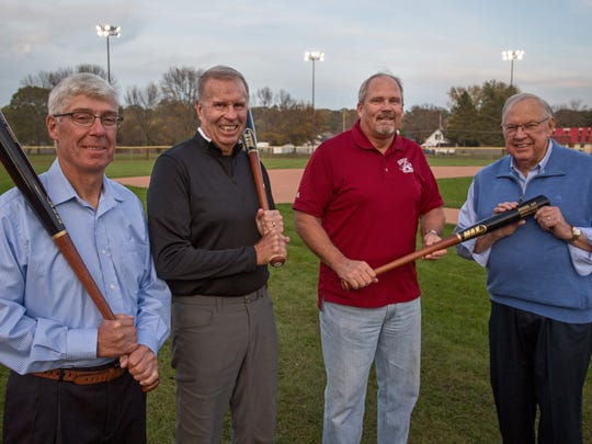 The Sheboygan A's have accelerated their plans for new lights for Wildwood Baseball Park when a donation of $100,000 came from the estate of Fred Weber. Sheboygan baseball leaders met Friday, Oct. 20, in Sheboygan. From left, Mike Martin, Sheboygan A's, Tom Grams, Sheboygan Baseball Assn, Scott Stengel, Sheboygan A's president and Denny Moyer, general manager for the Sheboygan A's.