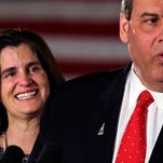 Tears well up in Mary Pat Christie's eyes as her husband Republican presidential candidate, New Jersey Gov. Chris Christie addresses supporters during a primary night rally in Nashua, N.H., Tuesday, Feb. 9, 2016. (AP Photo/Charles Krupa)