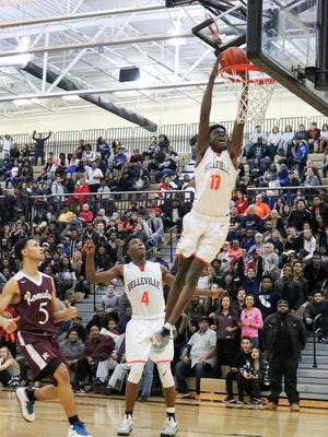 Belleville's Gabe Brown goes up for a dunk during a game this season. Brown is part of Michigan State basketball's 2018 recruiting class.