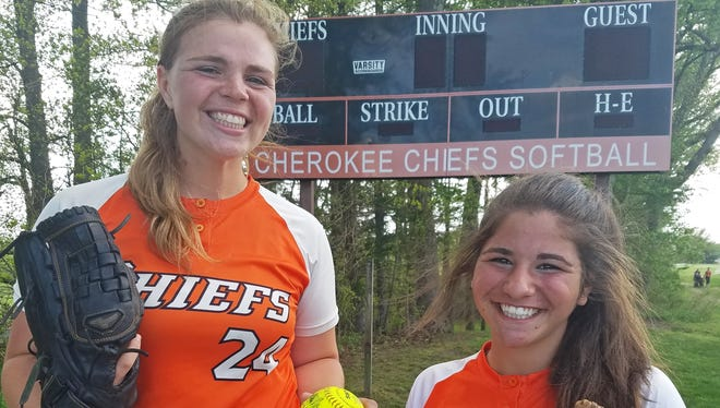 Cherokee senior Abbey Scarengelli, left, and freshman Karly Messina, right, have split time at pitcher this season in the Chiefs' solid start and become close friends in the process.