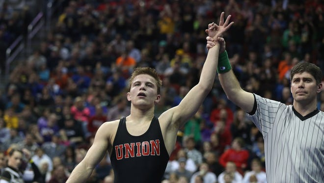 Max Thomsen, a three-time state champion from Union of LaPorte City, captured the 138-pound title at the NHSCA Junior Nationals tournament this past weekend.