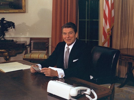 President Ronald Reagan in the Oval Office on Jan. 20, 1981.