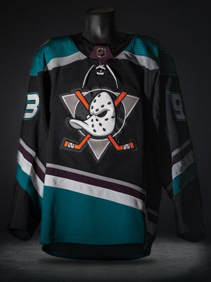Front of the new Anaheim Ducks throwback third jersey.