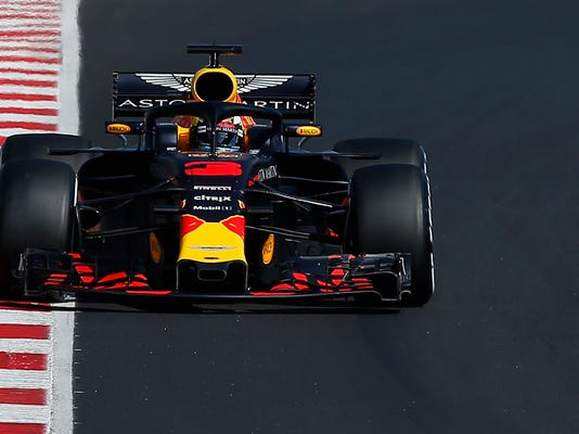 Red Bull driver Max Verstappen of the Netherlands steers his car during a Formula One pre-season testing session in Montmelo, outside Barcelona, Spain, Friday, March 9, 2018. (AP Photo/Manu Fernandez)