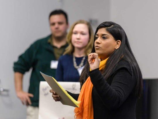 Mona Parikh presents the Start It Up Delaware team's