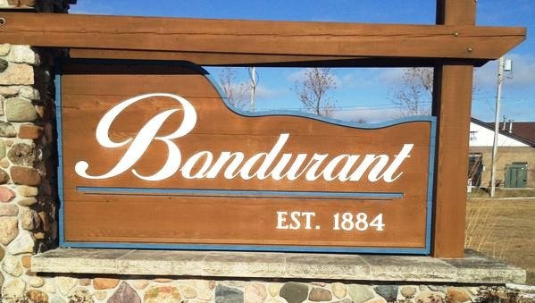 A sign welcomes visitors to Bondurant.