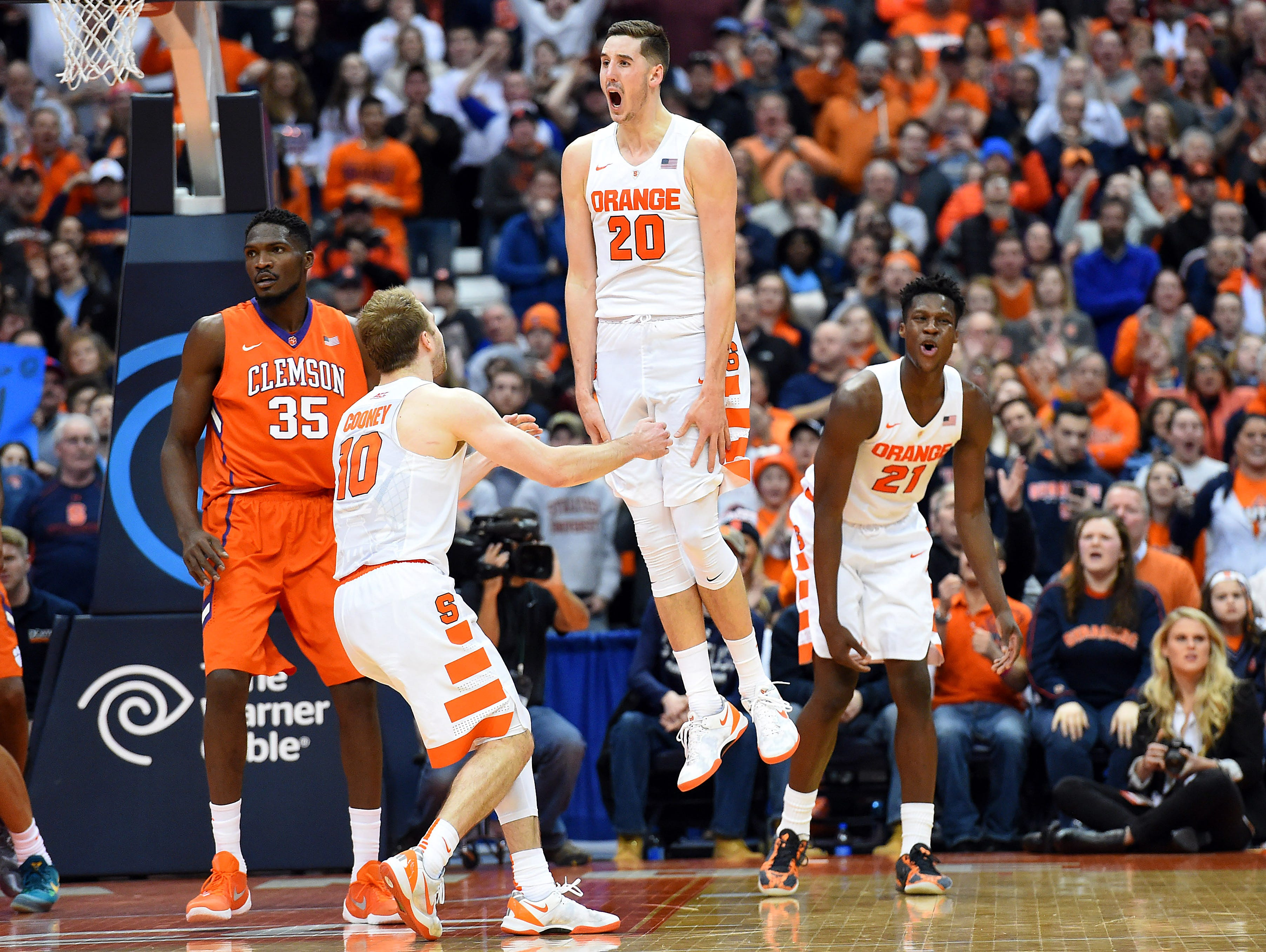 Syracuse's Tyler Lydon, center, leaps in the air in reaction to a call against Clemson during their teams' game on Jan. 5 in Syracuse.